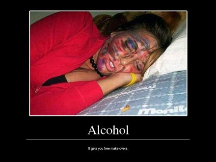 Alcohol: it gets you free makeovers