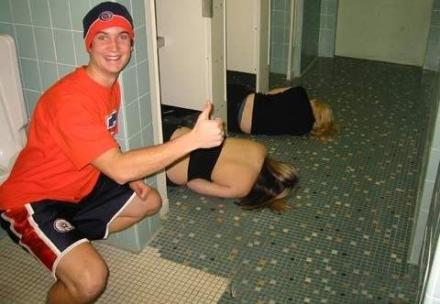 Two girls passed out in a guys bathroom