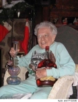 Old lady with a bong and some booze