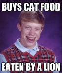 Bad Luck Brian Buys Cat Food